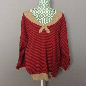 Forever 21 Red & Tan Striped Sweater